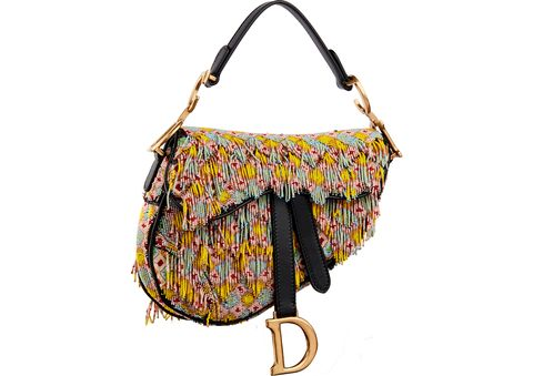 bd330661eb Courtesy of Dior. Dior Mini Saddle Bag All-Over Embroidered with Beads and  Fringes ...