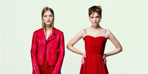 Clothing, Sleeve, Collar, Dress, Shoulder, Red, Standing, Formal wear, Pattern, Waist,