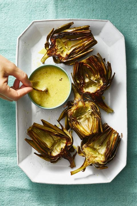New Year's Eve Appetizers - Roasted Artichokes with Caesar Dip