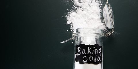 directly above shot of baking soda spilled on table