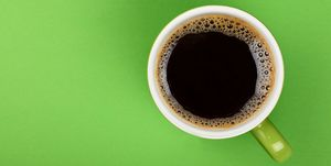 Directly Above Shot Of Black Coffee In Cup On Green Background