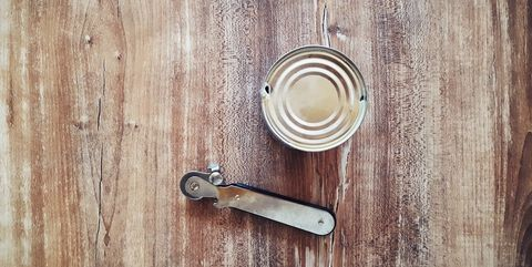 directly above shot of can with opener on table