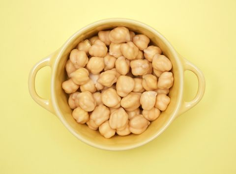 Directly Above Shot Of Chick-Peas In Bowl On Yellow Background