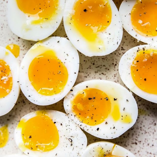 directly above shot of eggs in plate