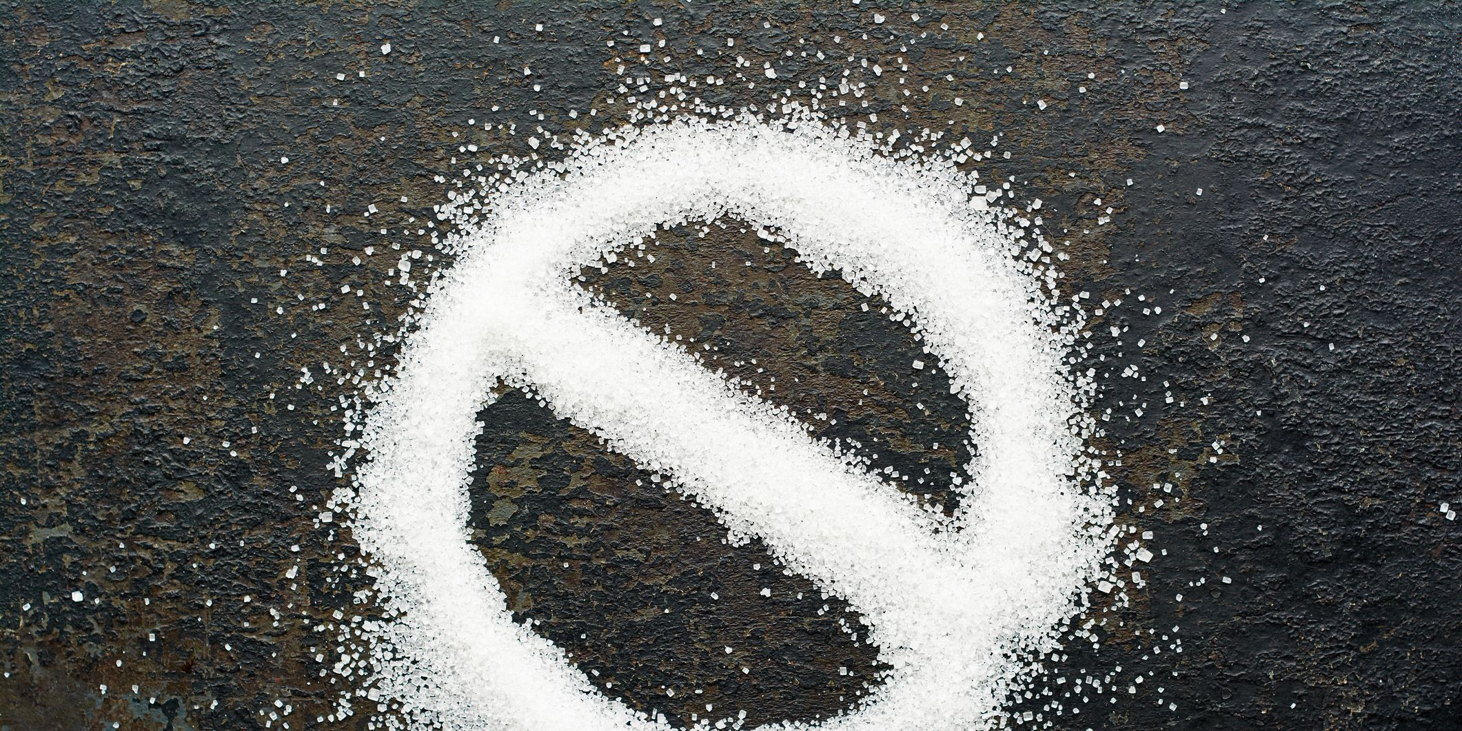 Directly Above Shot Of Forbidden Sign Made From Sugar