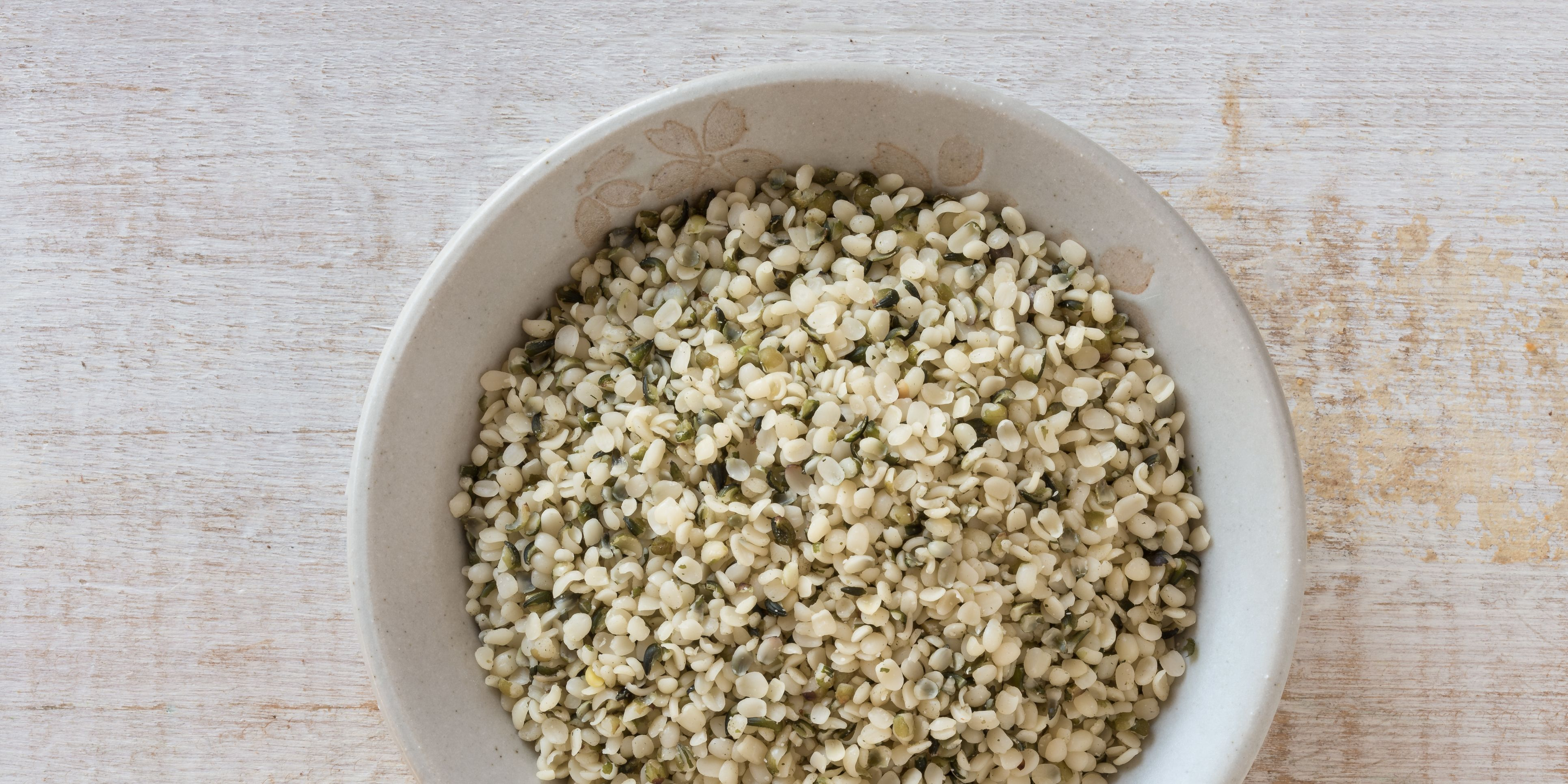 Directly Above Shot Of Hemp Seeds In Bowl On Table