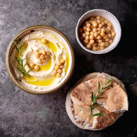 Directly Above Shot Of Hummus In Bowl On Table