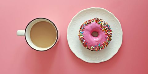 Doughnut, Ciambella, Food, Sprinkles, Glaze, Pastry, Saucer, Baked goods, Cup, Sweetness,