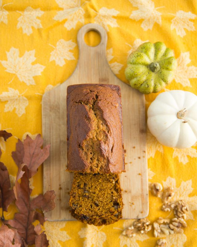 directly above shot of pumpkin bread loaf on table