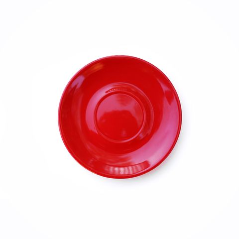 Directly Above Shot Of Red Empty Plate On White Background