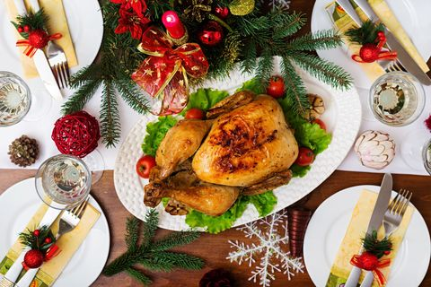 Directly Above View Of Fresh Meal During Christmas