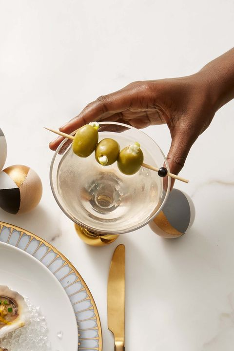 dirty martini with stuffed olives