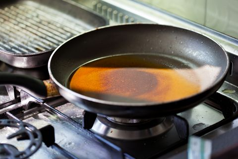 dirty stove with a dirty frying pan