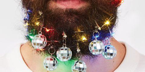 Christmas ornament, Christmas decoration, Facial hair, Ornament, Christmas, Design, Christmas tree, Holiday ornament, Pattern, Interior design,