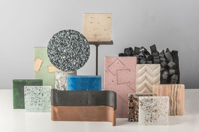 exposición materia gris piezas de diseño hechas con materiales reciclados