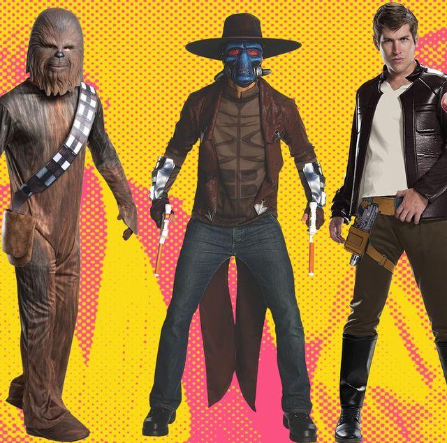 disfraces de personajes de star wars para halloween chewbacca, cad bane y poe dameron