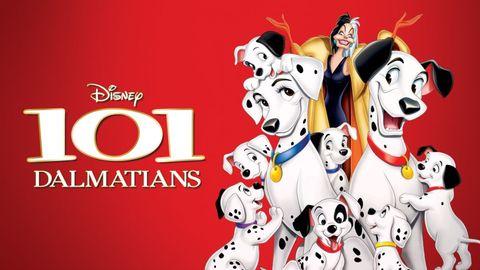 101 dalmations movie poster with animated dogs and cruella de vil