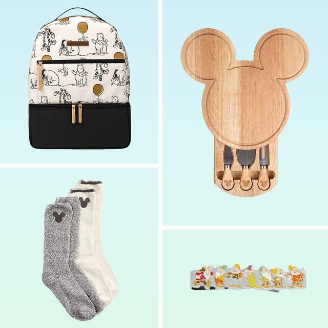 disney blanket, winnie the pooh backpack,  mickey cheese board, tie clip, socks, teacup, moccassins