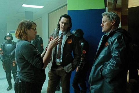 director kate herron on the set of loki with stars tom hiddleston and owen wilson