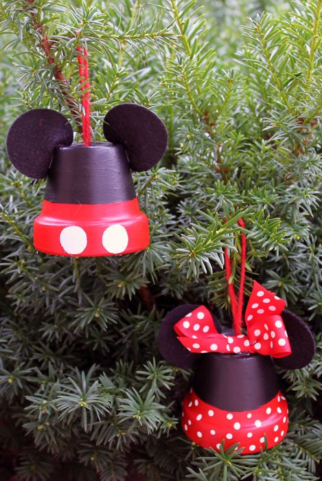 disney ornaments flower pots - Mickey And Minnie Christmas Decorations
