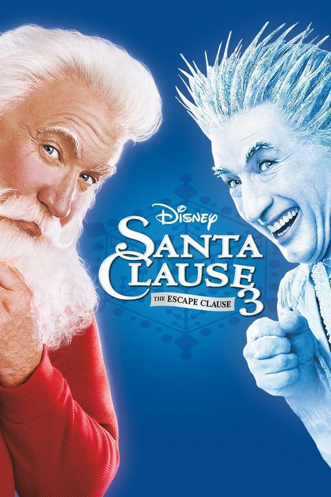 a blue background with a closeup of santa on the left and a white ghost looking guy with spiky hair on the right
