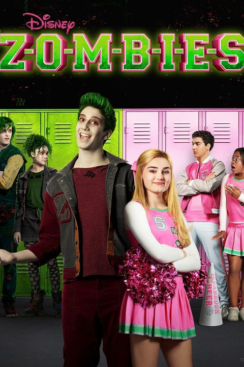 a movie poster showing a tall teenage zombie with green hair standing back to back with a blonde teenage cheerleader in a pink outfit