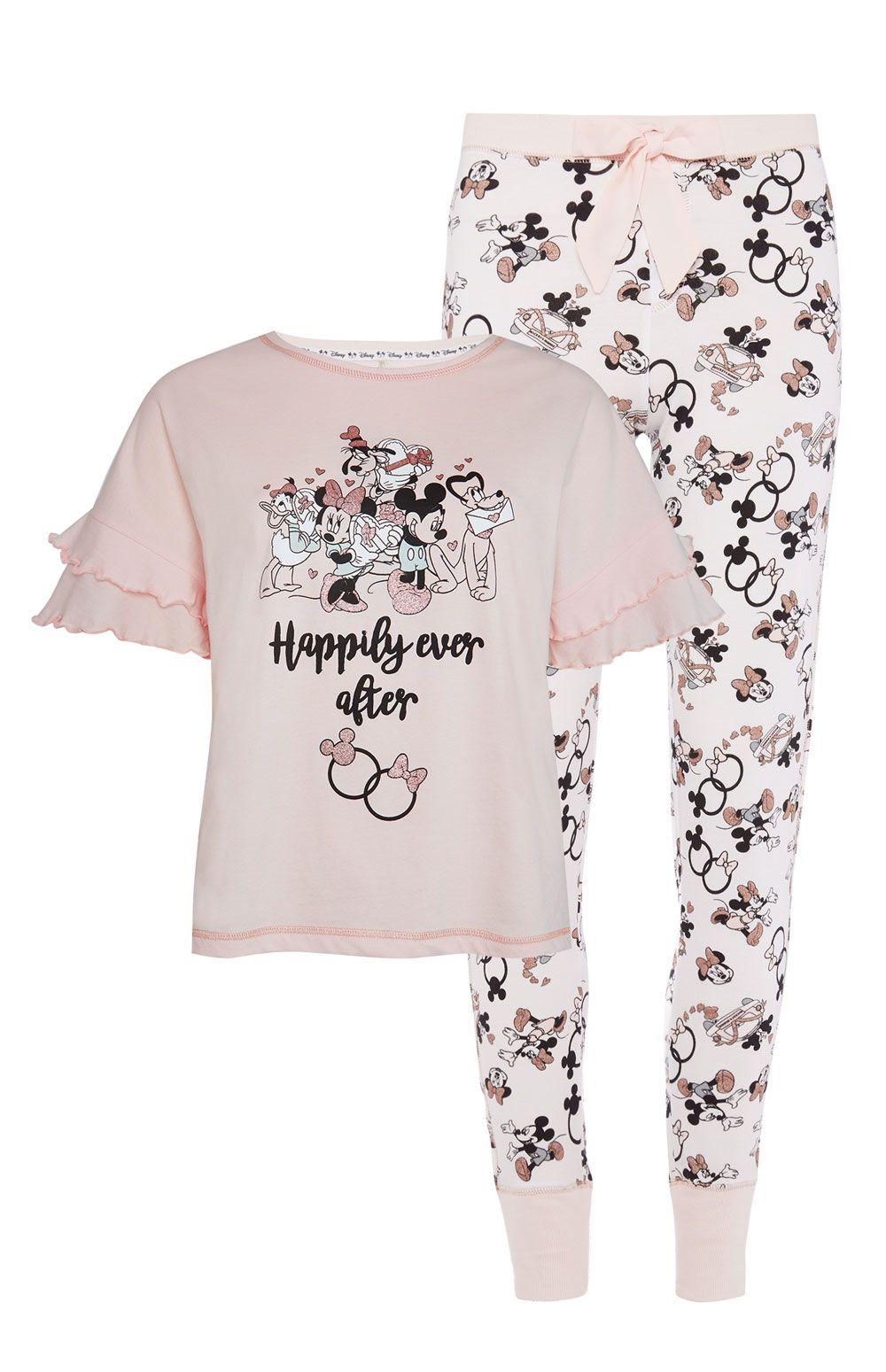 Femmes Primark Disney Mickey Mouse Sequin T-Shirt Pyjama Nightwear pyjama BNWT.