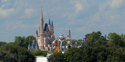 Landmark, Amusement park, Spire, Sky, World, Park, Steeple, Tree, Recreation, Walt disney world,