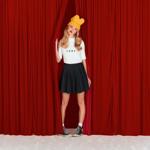 Clothing, Red, Talent show, Fashion, Waist, Fashion design,