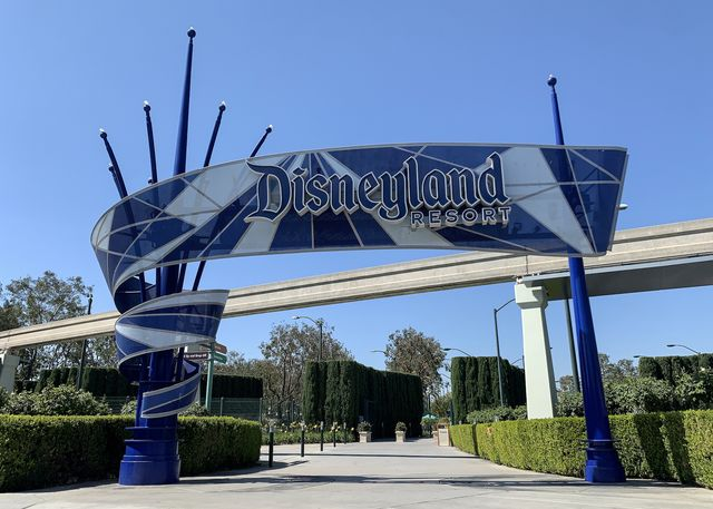 anaheim, ca   october 02 the harbor blvd entrance to the disneyland resort sits empty in anaheim, ca, on friday, october 2, 2020 photo by jeff gritchenmedianews grouporange county register via getty images