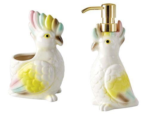 Dispensador de jabón con forma de cacatúas