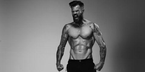 Barechested, Muscle, Shoulder, Chest, Standing, Bodybuilder, Arm, Abdomen, Model, Tattoo,