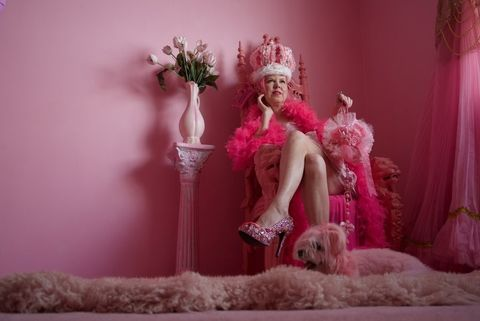 Pink, Doll, Magenta, Photography, Fur, Plant, Headpiece, Agent provocateur, Fictional character, Costume,