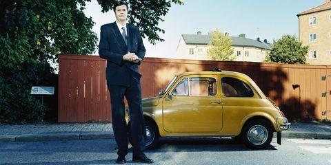 Land vehicle, Vehicle, Car, City car, Motor vehicle, Yellow, Coupé, Classic car, Fiat 500, Subcompact car,