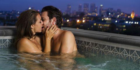 Swimming pool, Beauty, Black hair, Romance, Water, Fun, Jacuzzi, Interaction, Photography, Leisure,