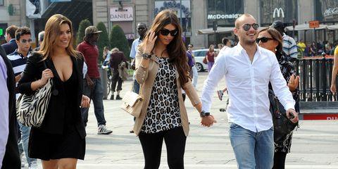 Wesley Sneijder and Yolanthe Cabau Van Kasbergen Sightings In Milan