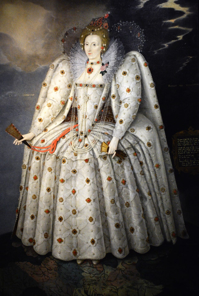london, england   september 29, 2017  a circa 1592 portrait of england's queen elizabeth i 1533 1603 by marcus gheeraerts the younger is on display at the national portrait gallery in london, england the painting, known as 'the ditchley portrait', was produced for sir henry lee, who had served as the queen's champion from 1559 90 it probably commemorates an elaborate symbolic entertainment that lee organized for the queen in 1592 photo by robert alexandergetty images