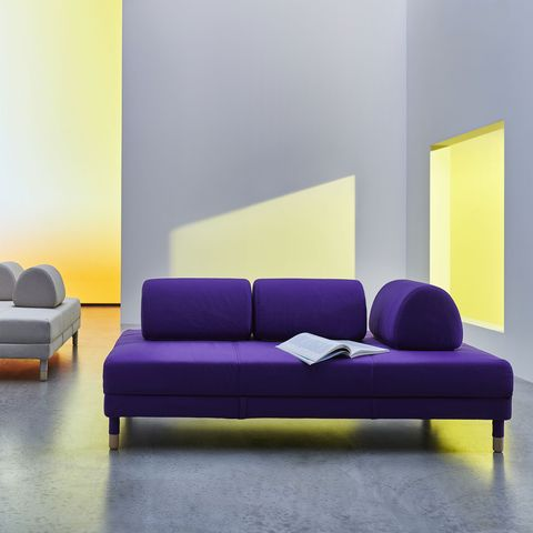 Furniture, Couch, Purple, Sofa bed, Room, Living room, Interior design, Yellow, Violet, studio couch,