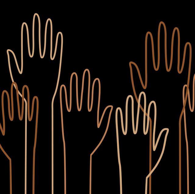 diverse outline raised hands
