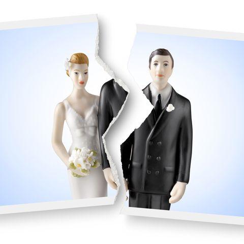 divorce torn photograph of wedding cake topper
