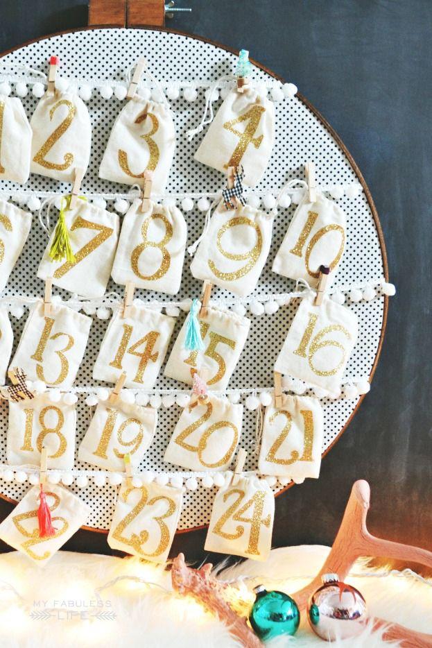 diy advent calendar embroidery hoop
