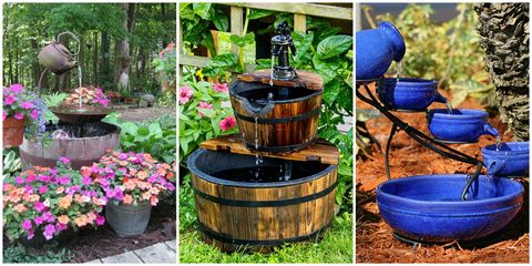 backyard fountains - 18 Outdoor Fountain Ideas - How To Make A Garden Fountain For Your