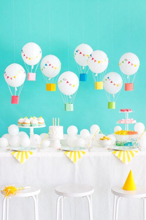 diy birthday decorations hanging hot air balloons