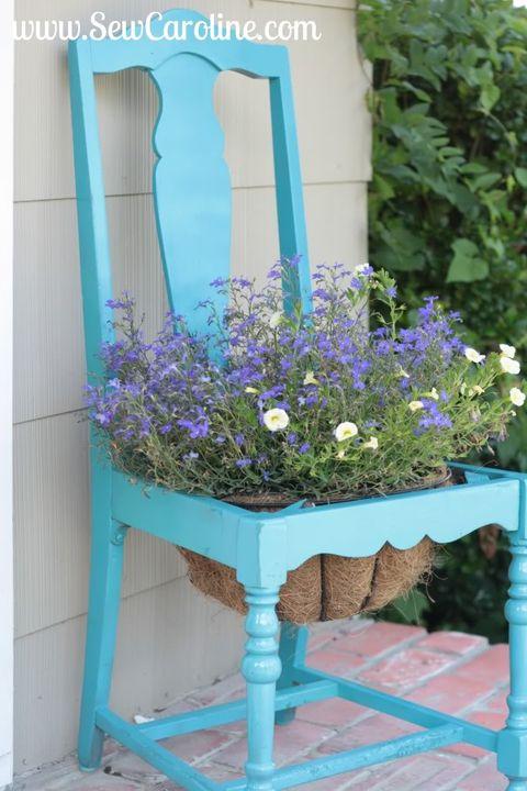 diy chair planter backyard decor