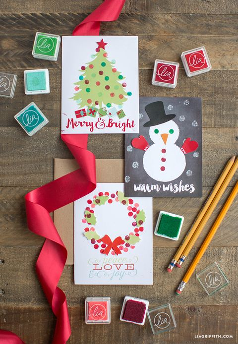 DIY Christmas Cards Ideas - Eraser Stamps