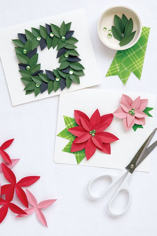 Set of four Origami Christmas cards green and white | Etsy | 750x500