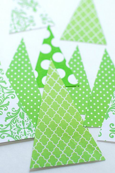 diy christmas cards   scrapbook paper trees