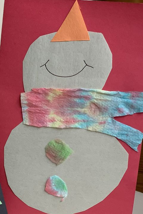 diy christmas cards   tie dye snowman card