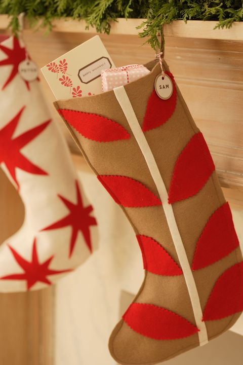 diy christmas stockings simple felt stocking tan stocking with red felt cutouts