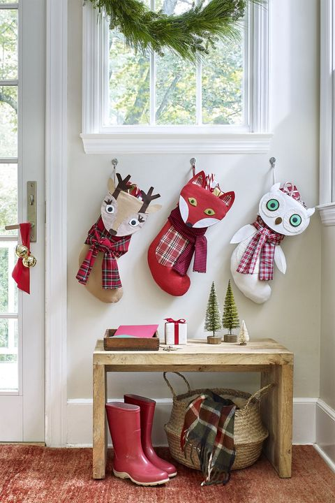 diy christmas stockings woodland creatures  tan deer, orange fox, white owl stocking